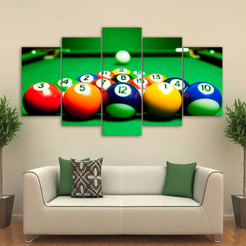 Billiards 5 Piece Canvas