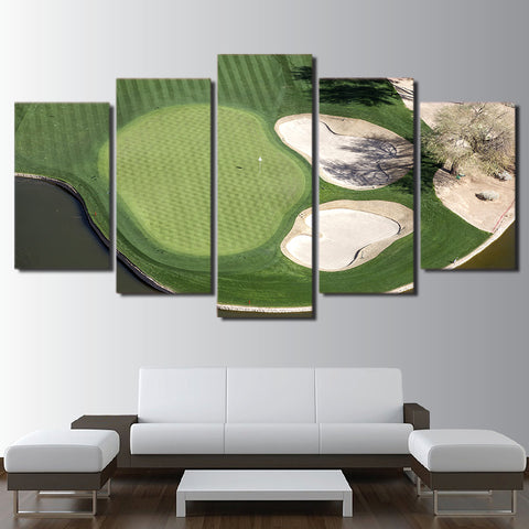 Green Field Golf Course 5 Piece Canvas