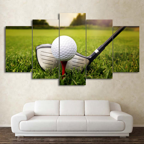Golf Course and Clubs 5 Piece Canvas