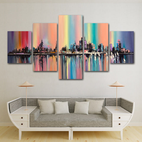 Melting Crayons City 5 Piece Canvas