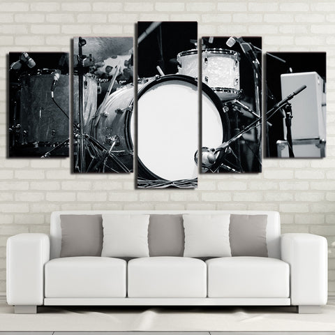Black and White Drum and Sticks 5 Piece Canvas