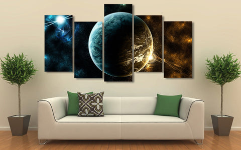 Planet & Starry Sky 5 Piece Canvas