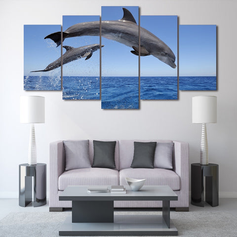 Dolphins Ocean Seascape 5 Piece Canvas