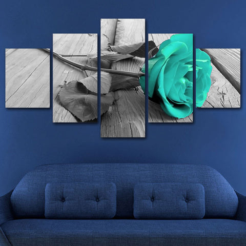 Blue Blossom Rose 5 Piece Canvas