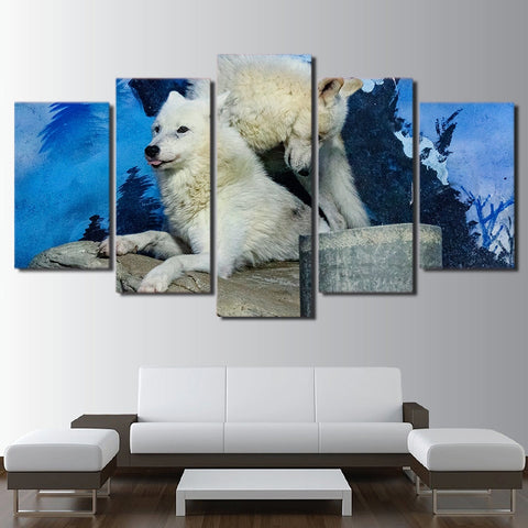 Snow White Wolf Couple 5 Piece Canvas