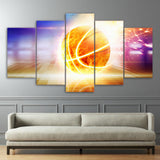 Fire Basketball Shooting 5 Pieces Canvas