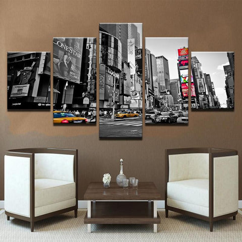 New York City Street View 5 Piece Canvas