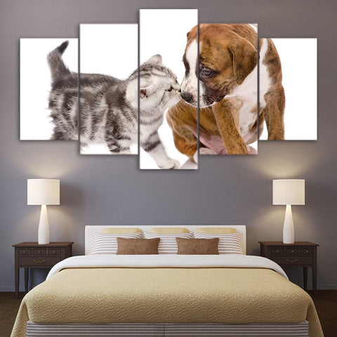 Cute Cat Kiss Dog 5 Piece Canvas