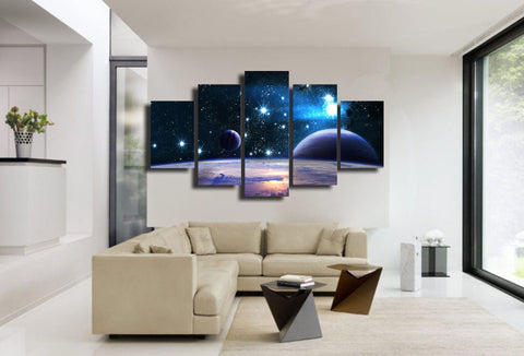 Starry Sky & Planet 5 Piece Canvas