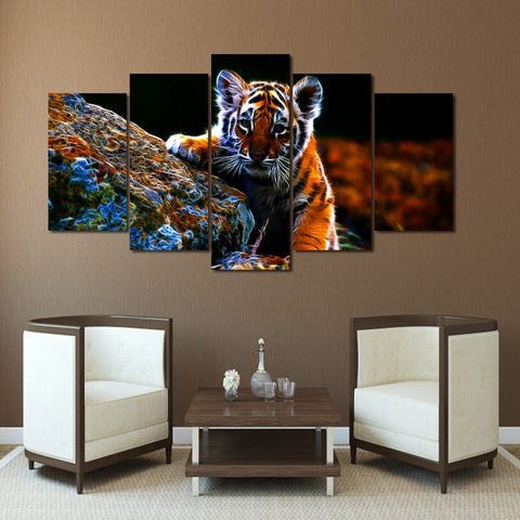 Desperate Little Tiger 5 Piece Canvas