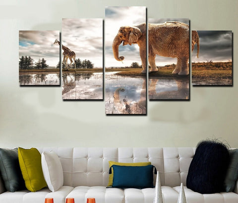 Elephant and Giraffe 5 Piece Canvas