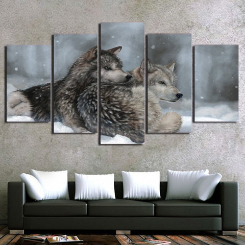 Snow Wolf Couple 5 Piece Canvas