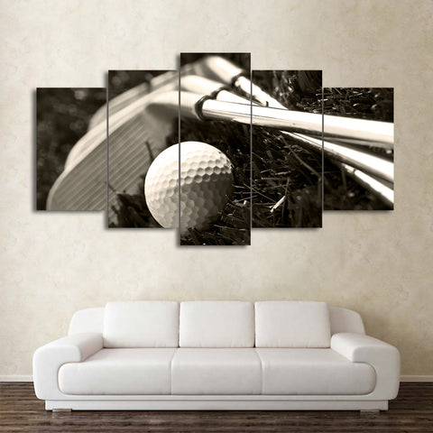 Black and White Golf Clubs and Ball 5 Piece Canvas