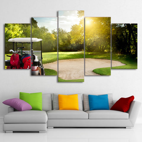 Large Green Golf Course and Car 5 Piece Canvas