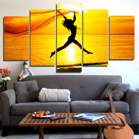 Girl at Sea Jumping 5 Piece Canvas