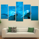 Ocean Couple Dolphins 5 Piece Canvas
