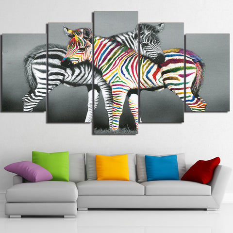 Zebra Black and Colorful  5 Piece Canvas