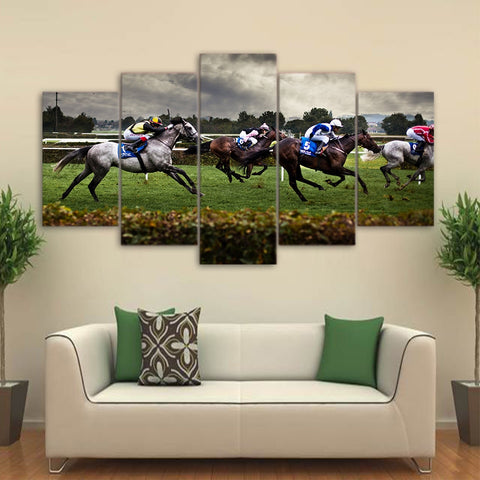 Fast Horse Racing 5 Piece Canvas