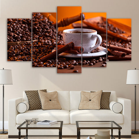 Coffee Beans and Coffee 5 Piece Canvas