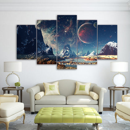 Snow Mountain and Galaxy 5 Piece Canvas