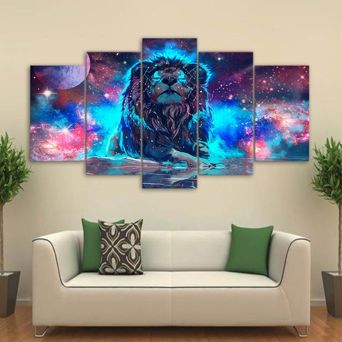 Abstract Lion Constellation 5 Piece Canvas
