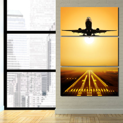 Flying Airplane Sunset 3 Piece Canvas