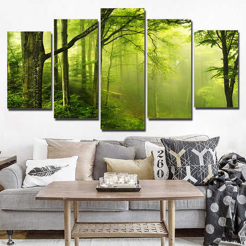 Green Natural Fresh Forest 5 Piece Canvas