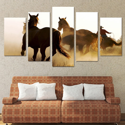 Cowboys Horses 5 Piece Canvas