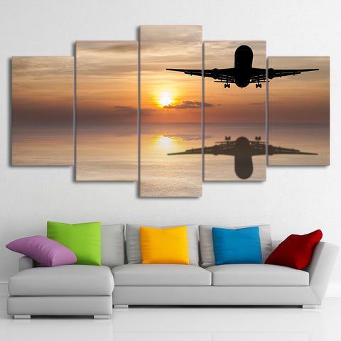 Sunset with Shadow Airplane 5 Piece Canvas