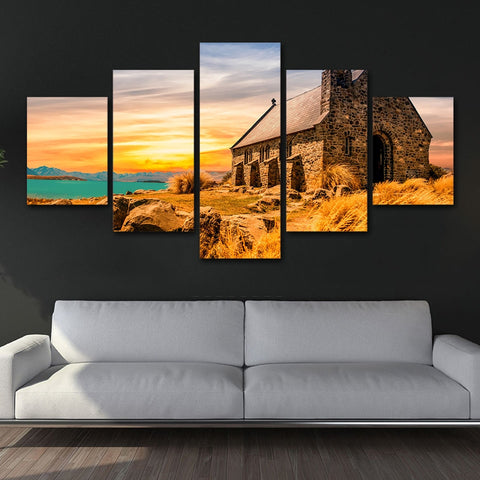 Seaside Bricks House 5 Piece Canvas