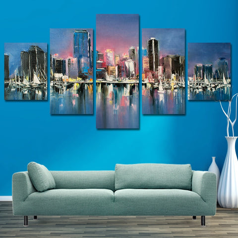 City Port Sailboat 5 Piece Canvas