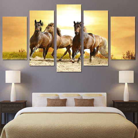 Sunset Running Horses 5 Piece Canvas
