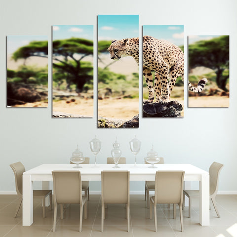 African Leopard 5 Pieces Canvas