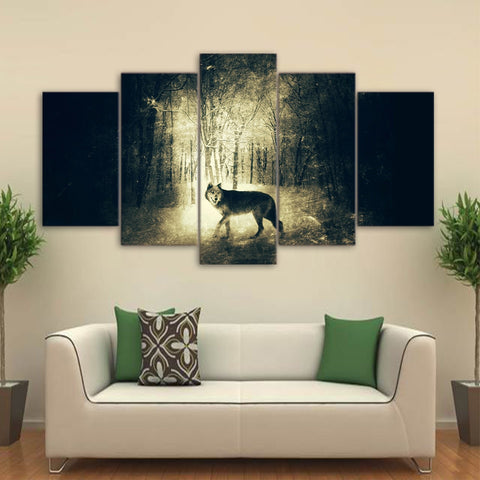 Wolf in Light and Shadow 5 Piece Canvas