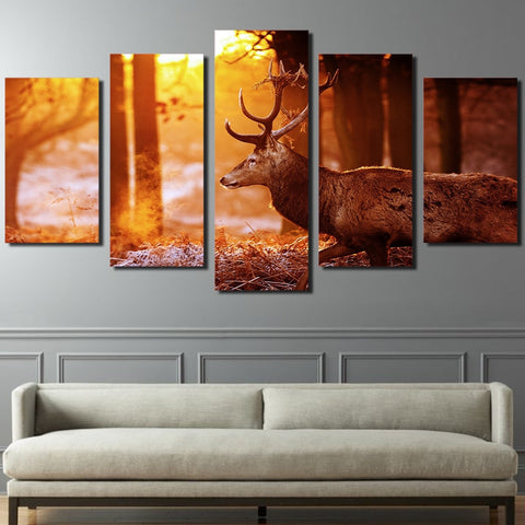 Forest Deer Sunrise 5 Piece Canvas