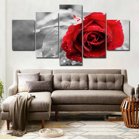 Lovely Red Rose 5 Piece Canvas