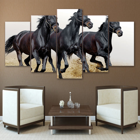 Black Horses Running 5 Piece Canvas