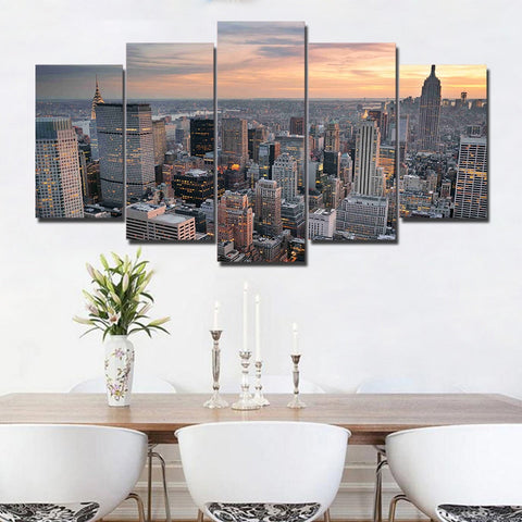 New York Skyscraper Building 5 Piece Canvas