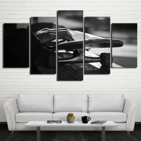 Skateboard Black And White 5 Piece Canvas