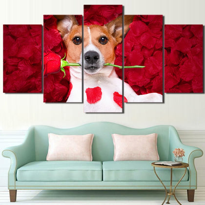 Dog Holding Roses 5 Piece Canvas