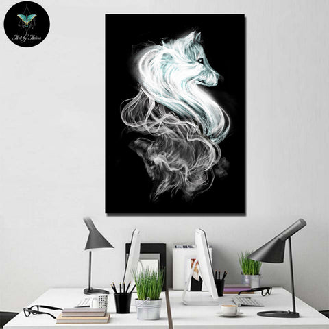 Light and dark Wolves By Arina Art 1 Piece Canvas