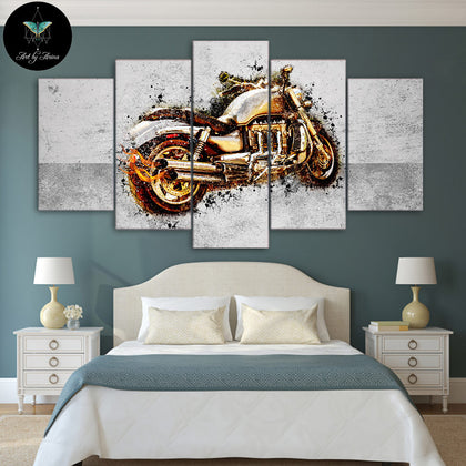 Motorcycle by Arina Art 5 Piece Canvas