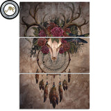 Mystery Skull Dreamcatcher by Sunima-MysteryArt 3 Piece Canvas