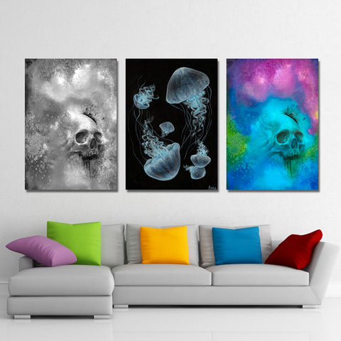 Psychedelic Skull and Jellyfish By Arina Art  1 Piece Canvas