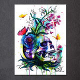 Flower Skull by Pixie Cold Art 1 Piece Canvas