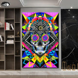 Sugar Skull by Pixie Cold Art 3 Piece Canvas