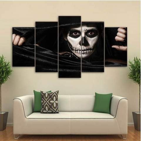 Skull in Black 5 Piece Canvas