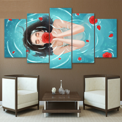 Floating Girl with Red Flower 5 Piece Canvas