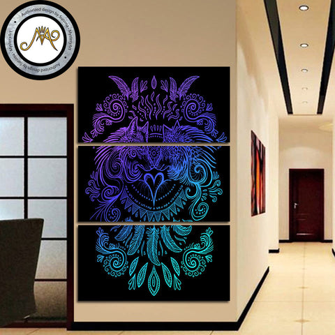 Wolves Heart Dark by Sunima-MysteryArt 3 Piece Canvas