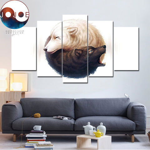 Yin and Yang Wolves by JoJoesArt 5 Piece Canvas